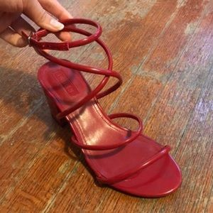 Patent Red Strappy Low Heeled Sandal 6.5